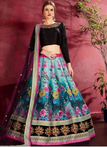 A Line Lehenga Choli Embroidered Banglori Silk in Turquoise