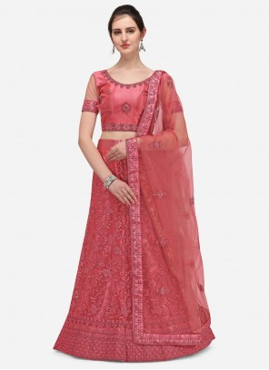 A Line Lehenga Choli Embroidered Net in Pink