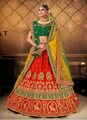 A Line Lehenga Choli Embroidered Satin in Red