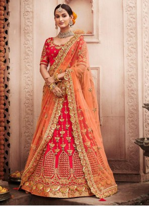 A Line Lehenga Choli Embroidered Silk in Red