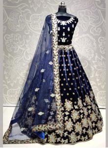 A Line Lehenga Choli Embroidered Velvet in Blue