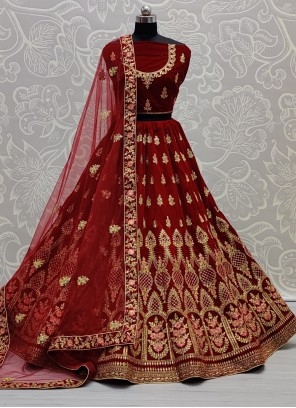 Maroon A Line Lehenga Choli For Bridal