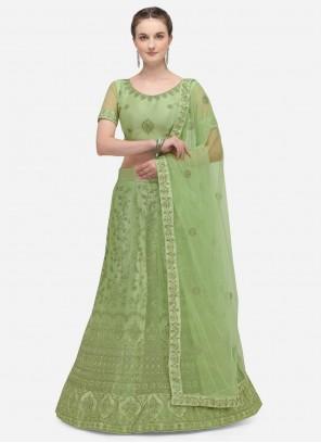 Green A Line Lehenga Choli For Engagement