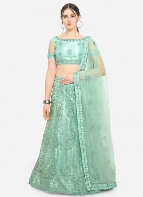 Sea Green A Line Lehenga Choli For Mehndi