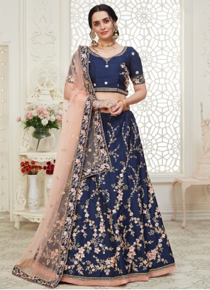 A Line Navy Blue Lehenga Choli For Wedding