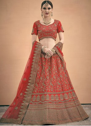 A Line Lehenga Choli Thread Work Satin in Red