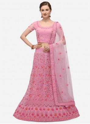 A Line Lehenga Choli Zari Net in Pink