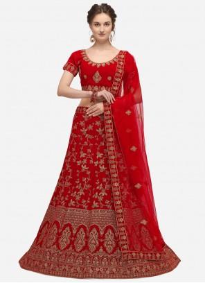 A Line Lehenga Choli Zari Velvet in Red