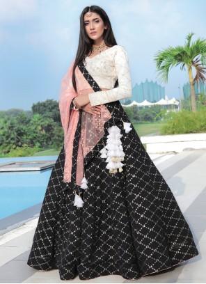 Aamna Sharif Bamber Georgette  Sequins Black Readymade Lehenga Choli