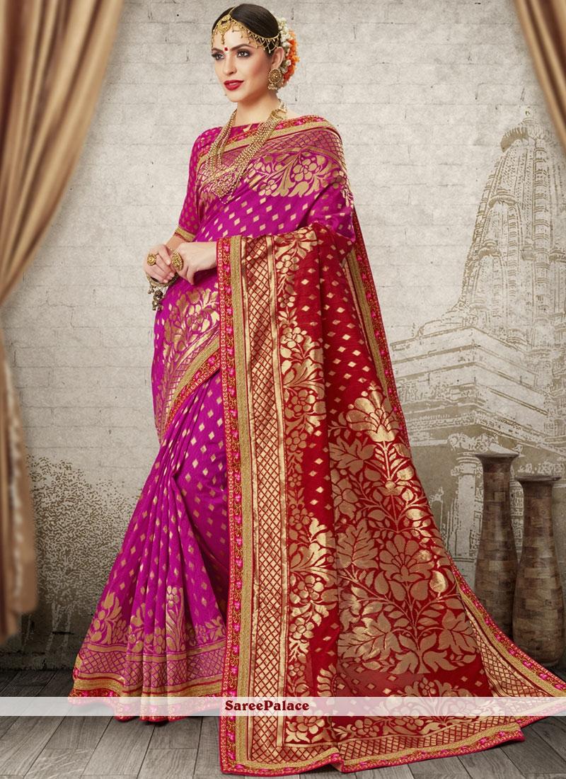 Aari Art Silk Hot Pink and Red Half N Half  Saree