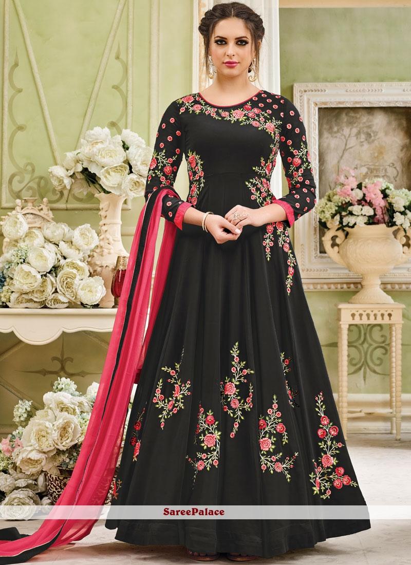 ddbbb1f764 Buy Absorbing Embroidered Work Black Anarkali Salwar Kameez Online