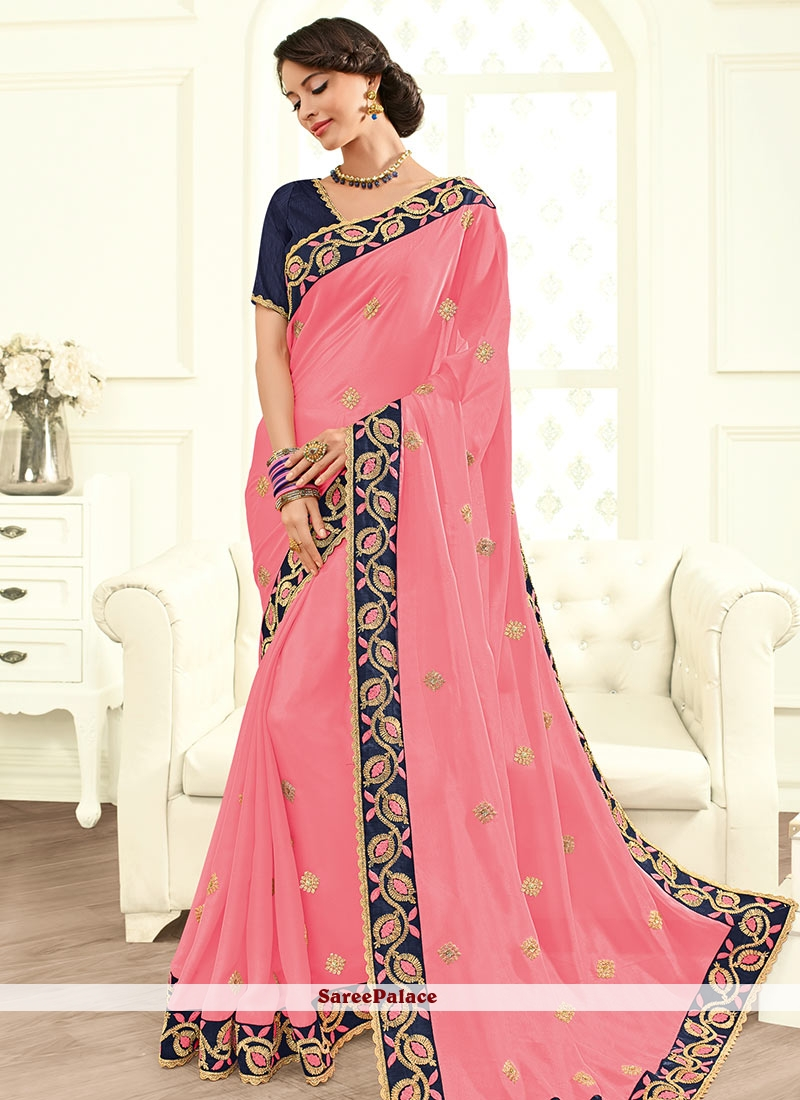 Absorbing Faux Georgette Resham Work Traditional  Saree