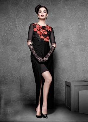 Absorbing Georgette Black Embroidered Work Designer Kurti
