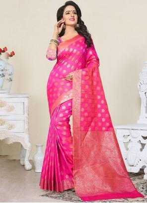 Absorbing Hot Pink Designer Traditional Saree