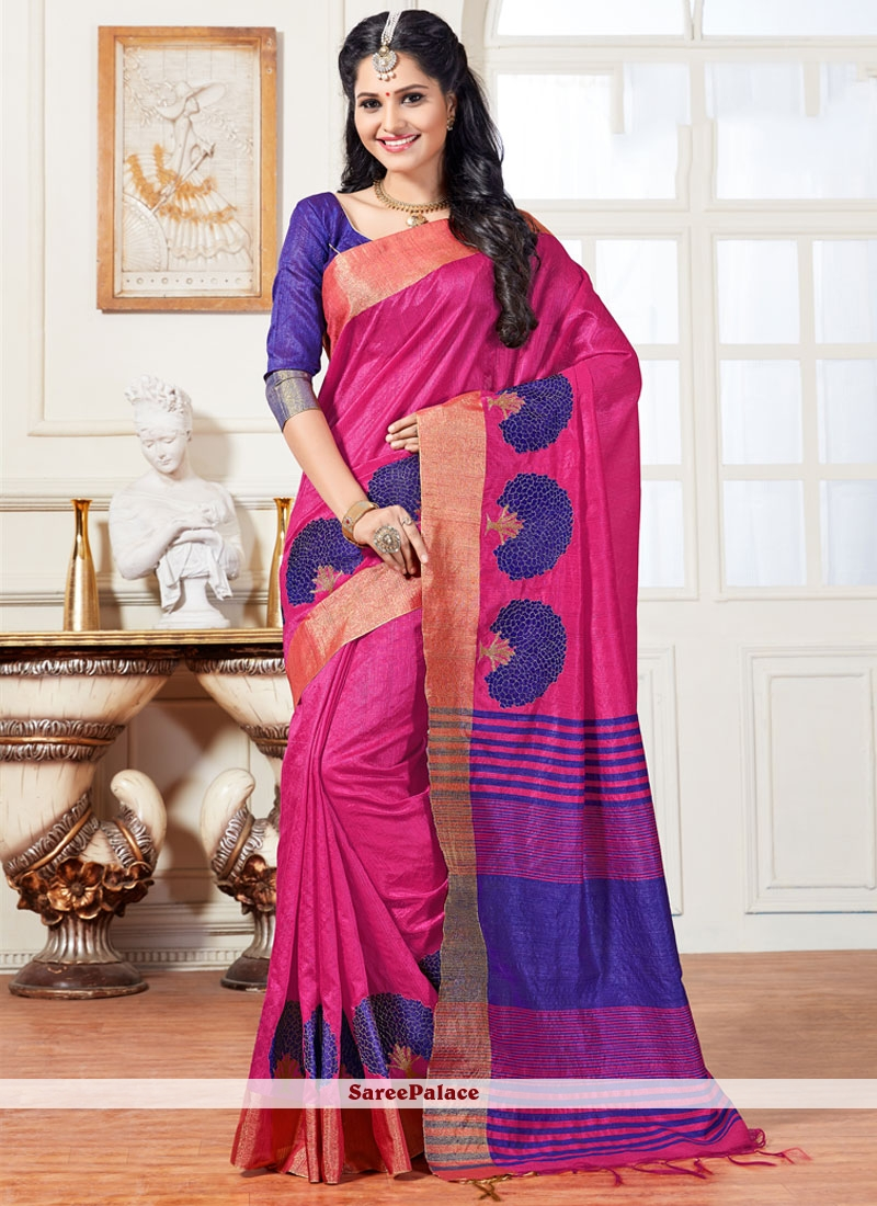 Absorbing Hot Pink Weaving Work Traditional  Saree