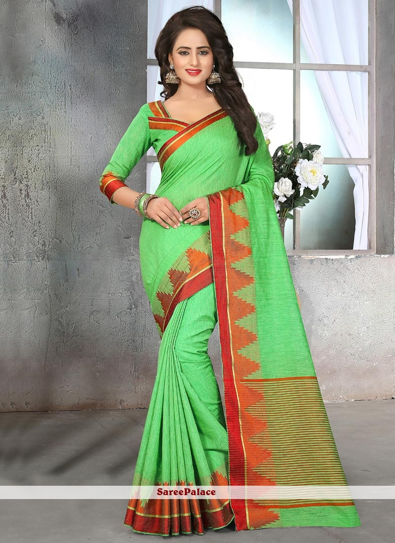 Absorbing Patch Border Work Cotton Silk Designer Traditional Saree