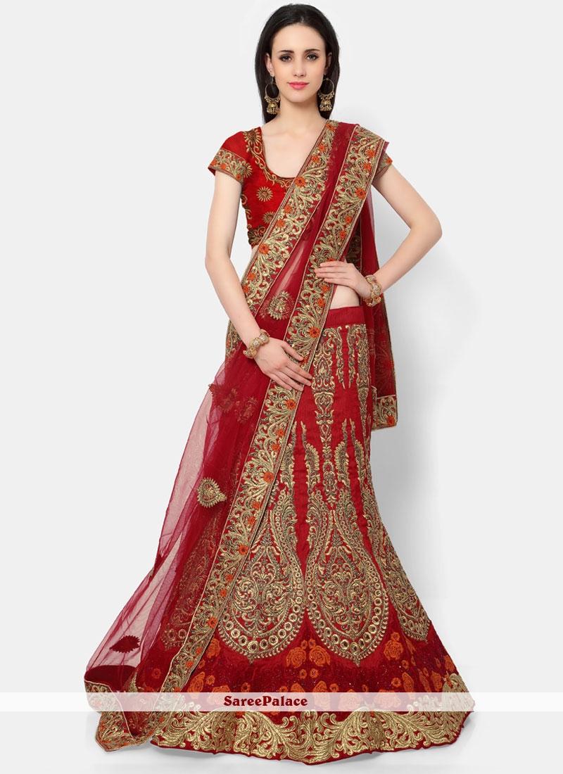 Red Art Silk A Line Lehenga Choli