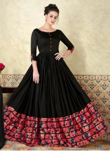 Absorbing Print Work Floor Length Anarkali Suit