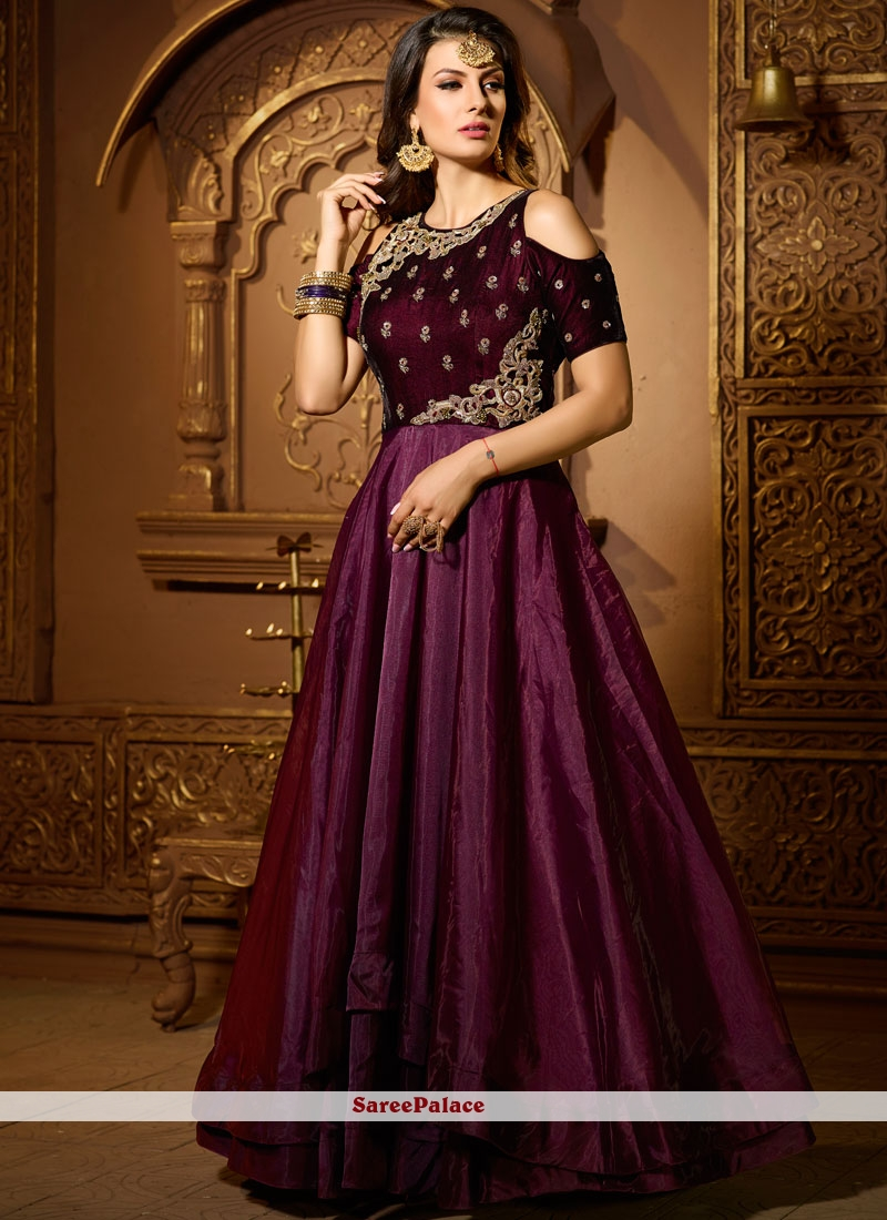 Buy Absorbing Purple Satin Silk Readymade Suit Online