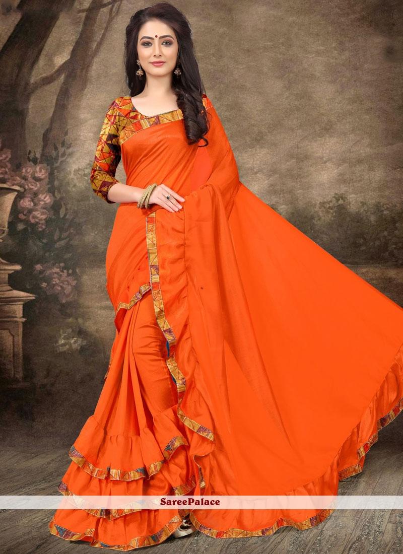 0da7e2bca5 Buy Abstract Print Art Silk Orange Ruffle Sarees Online - 103841