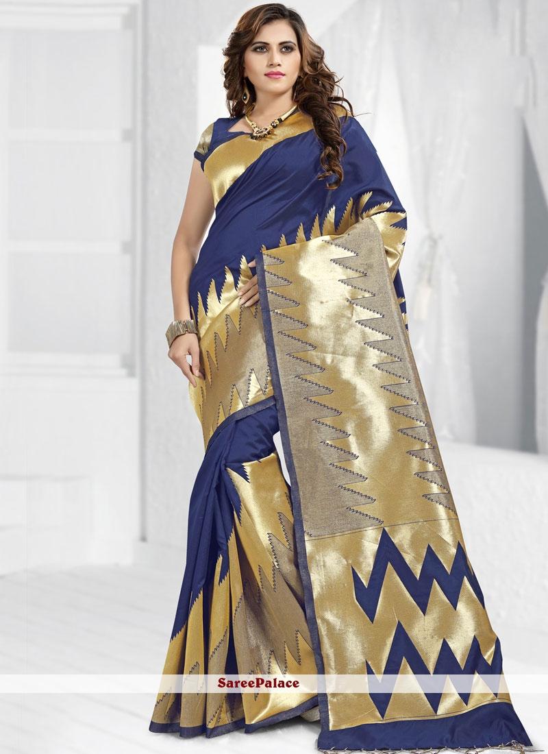 Abstract Print Banarasi Silk Blue Designer Saree