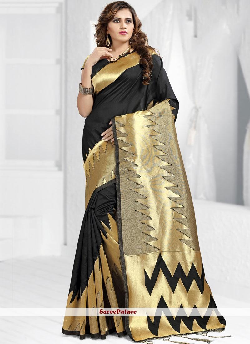 Abstract Print Banarasi Silk Designer Saree in Black