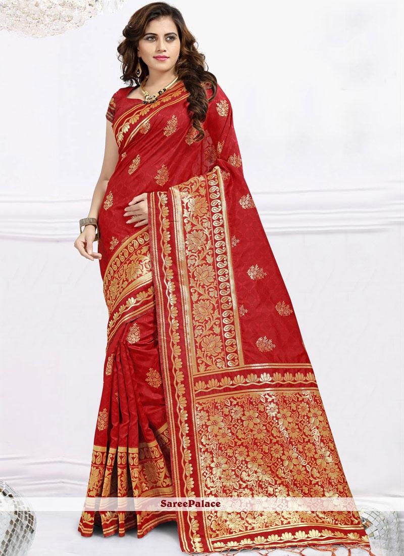 Abstract Print Banarasi Silk Red Designer Saree