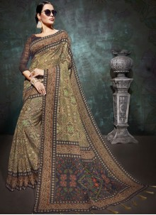 Abstract Print Beige Linen Printed Saree