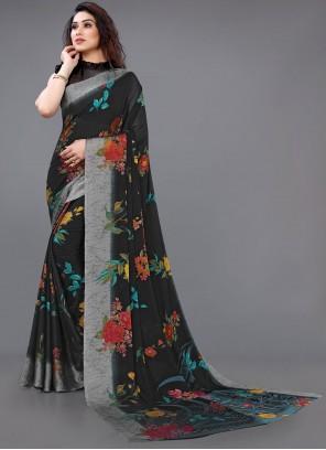Abstract Print Black Casual Saree