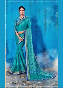 Abstract Print Blue Art Silk Traditional Saree