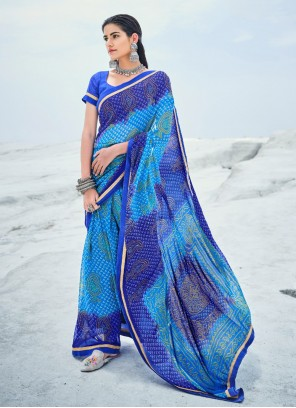 Abstract Print Blue Faux Georgette Casual Saree