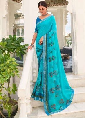 Abstract Print Blue Faux Georgette Saree