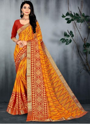 Abstract Print Brasso Saree in Yellow