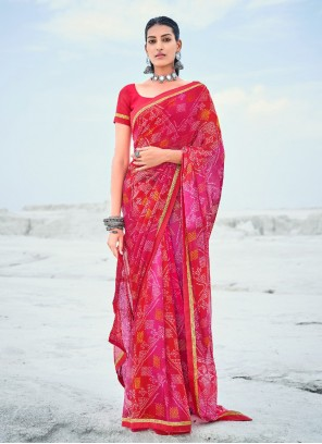 Red And Pink Abstract Print Casual Saree