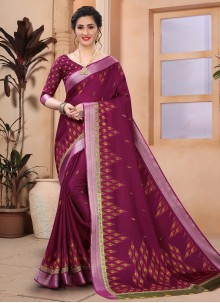 Abstract Print Wine Casual Saree