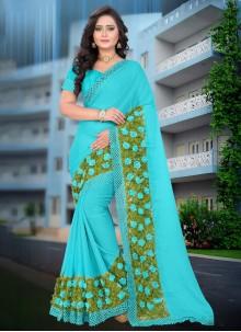 Abstract Print Blue Casual Saree