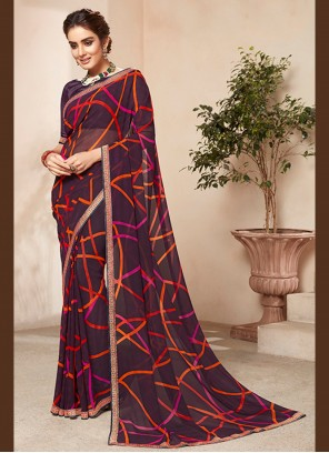 Abstract Print Multi Colour Casual Saree