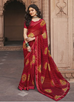 Maroon Faux Georgette Abstract Print Casual Saree