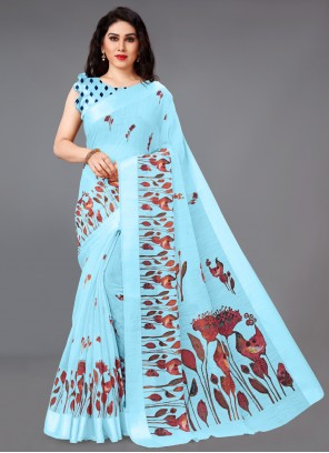 Abstract Print Cotton Blue Saree