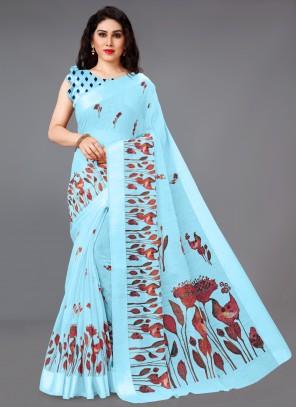 Abstract Print Cotton Blue Saree