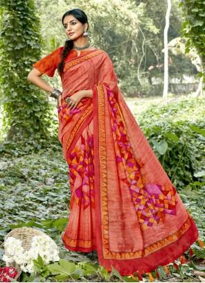 Abstract Print Cotton Multi Colour Printed Saree