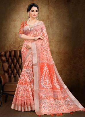 Abstract Print Orange Cotton Printed Saree