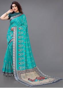 Turquoise Abstract Print Cotton Saree