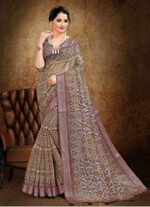 Abstract Print Cotton Printed Saree in Beige