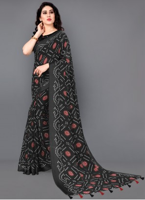 Abstract Print Cotton Saree in Black