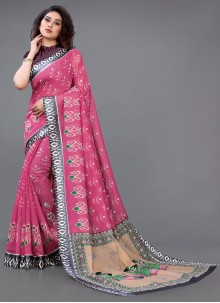 Abstract Print Cotton Casual Saree in Pink