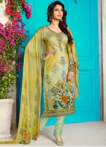 Multi Colour Abstract Print Cotton Satin Churidar Designer Suit