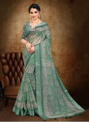Abstract Print Cotton Sea Green Printed Saree