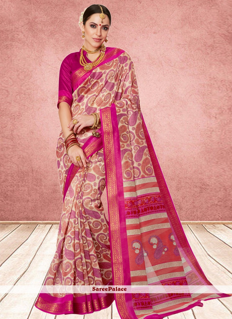 Abstract Print Cotton Silk Casual Saree in Multi Colour