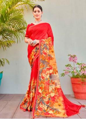 Abstract Print Multi Colour Cotton Silk Printed Saree
